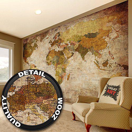 World Map Photo Wallpaper Vintage Retro Motif XXXL World