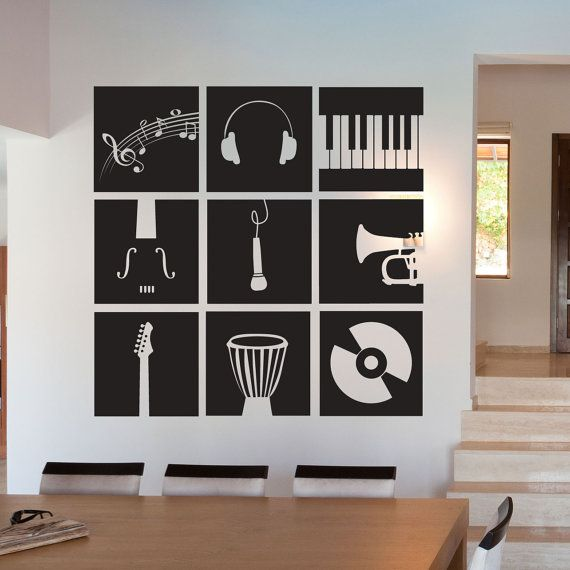 Music Instruments Stencil   Wall Decal Custom Vinyl Art Stickers