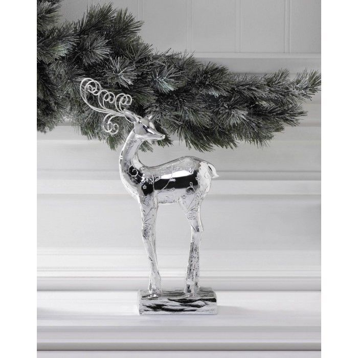 "Glamorous Silver Dancer Reindeer Christmas Statue Holiday Mantel Figurine Decor ChristmasCollection, 13.88"" H, $17.83"