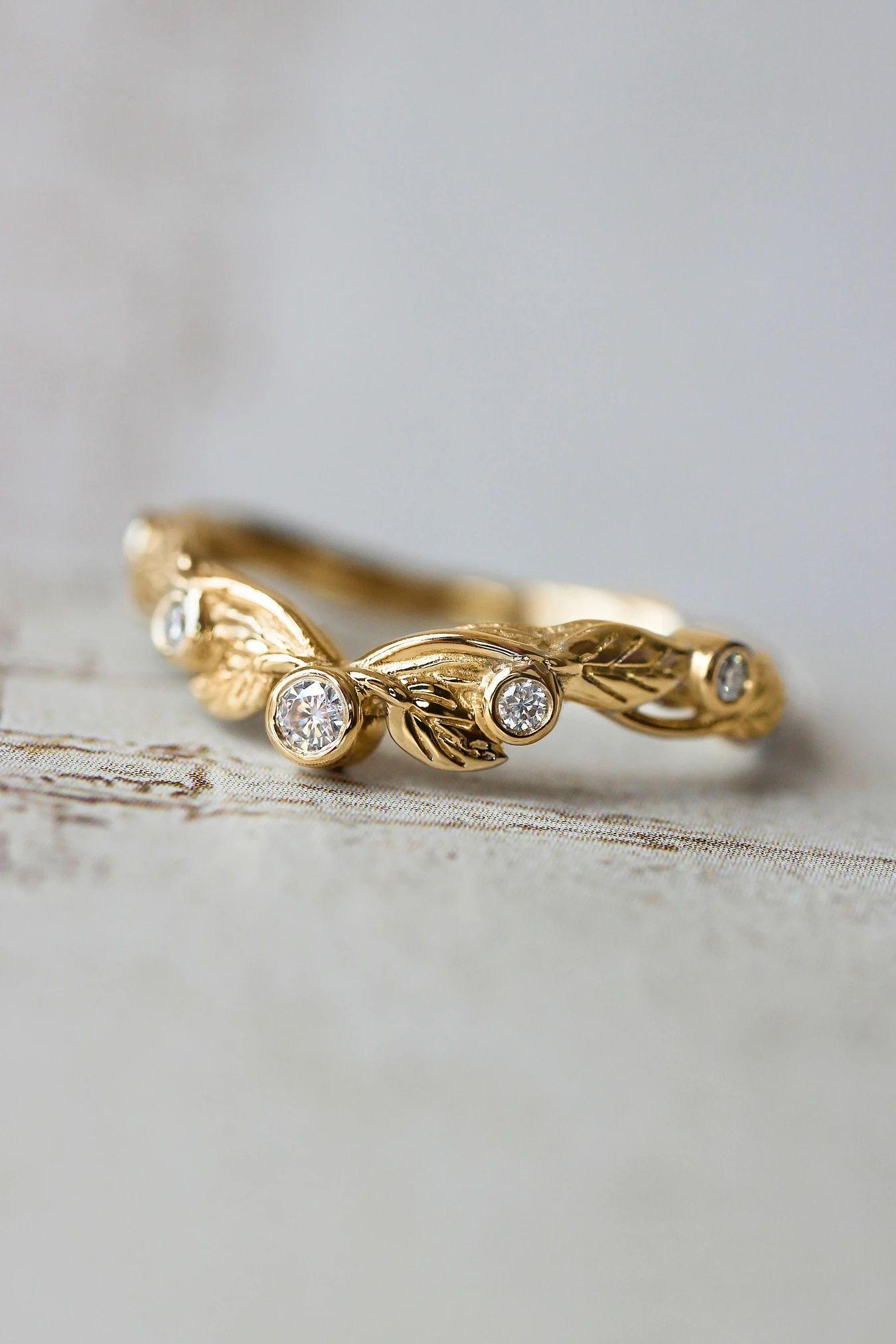 Wreath wedding band, leaf ring with diamonds or