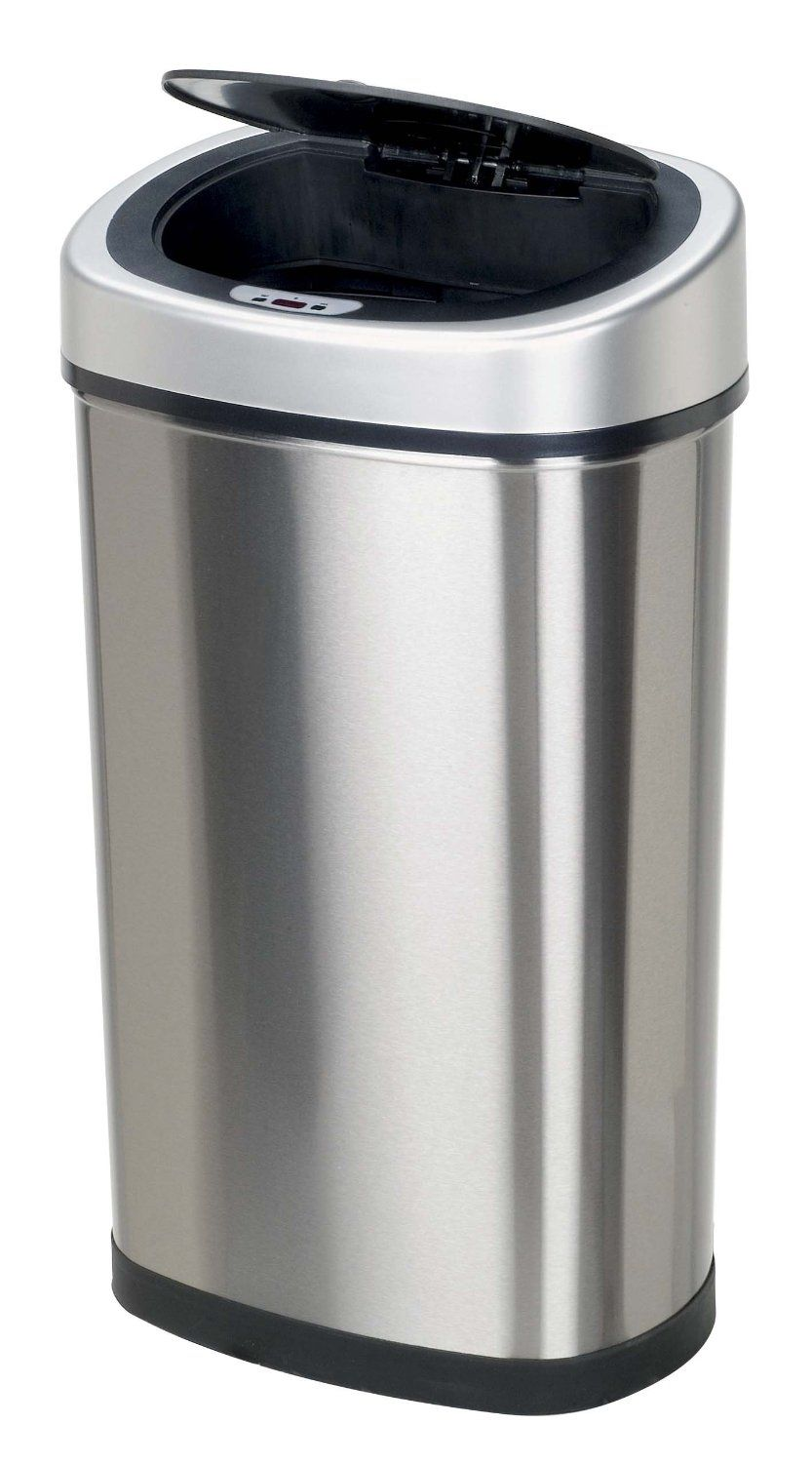 Nine Stars DZT-50-9 Touchless Stainless Steel 13.2 Gallon Trash Can ...