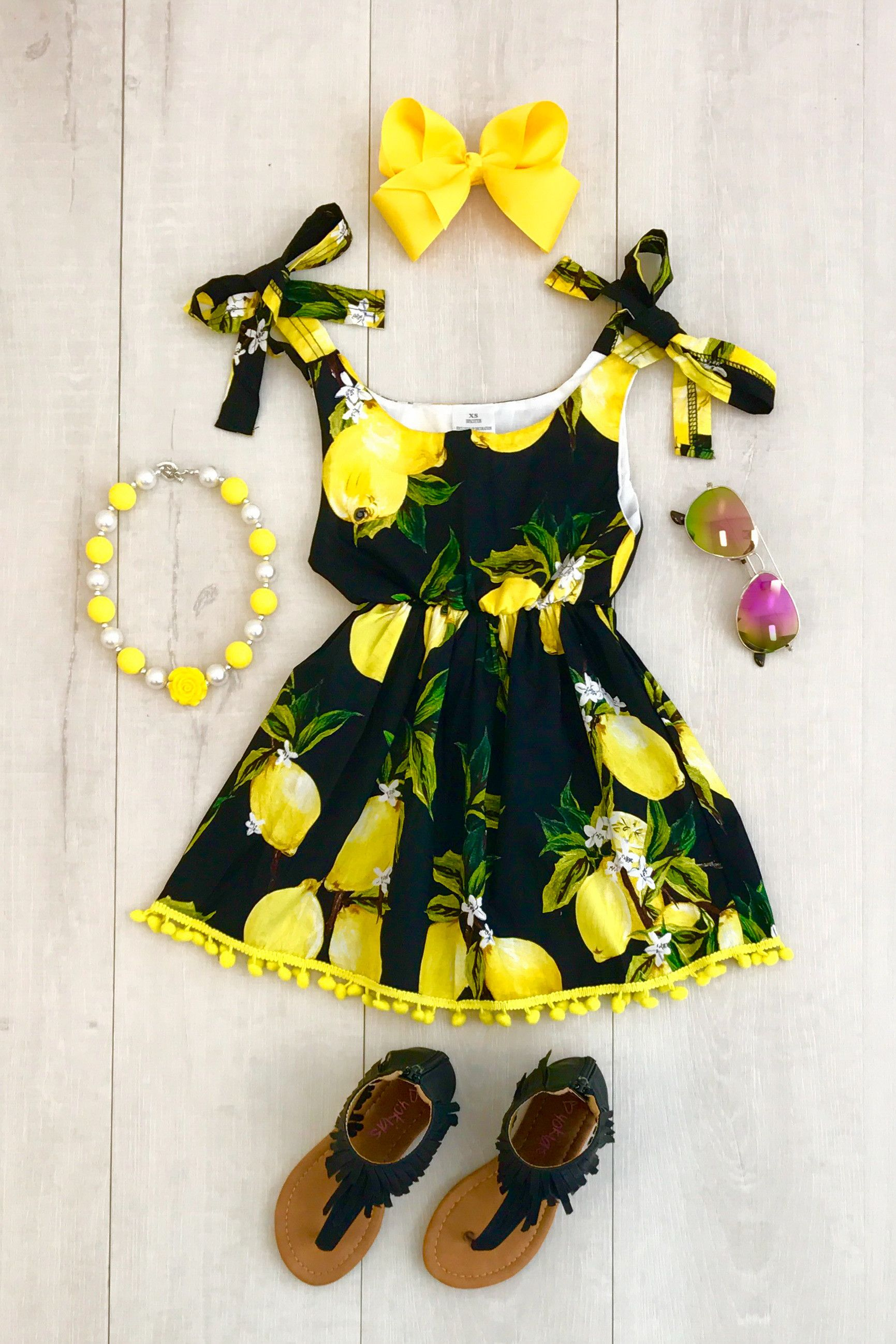 Black and yellow dress kids  Black Lemon Dress  Sparkle in Pink  BABY FASHIONISTAS