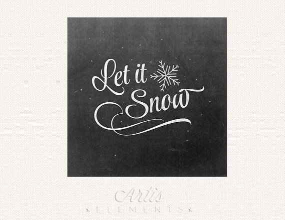 Let it Snow Retro Chalkboard Script  Snowflakes - Winter Print for