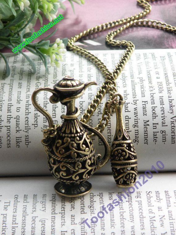 Pretty retro copper 3d wine flagon necklace pendant vintage style