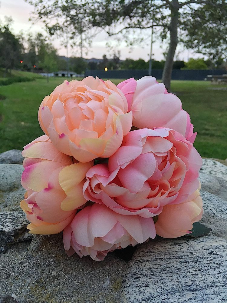 Peonies Silk Bouquets / 6 Heads / Pink and Peach / Faux Floral ...