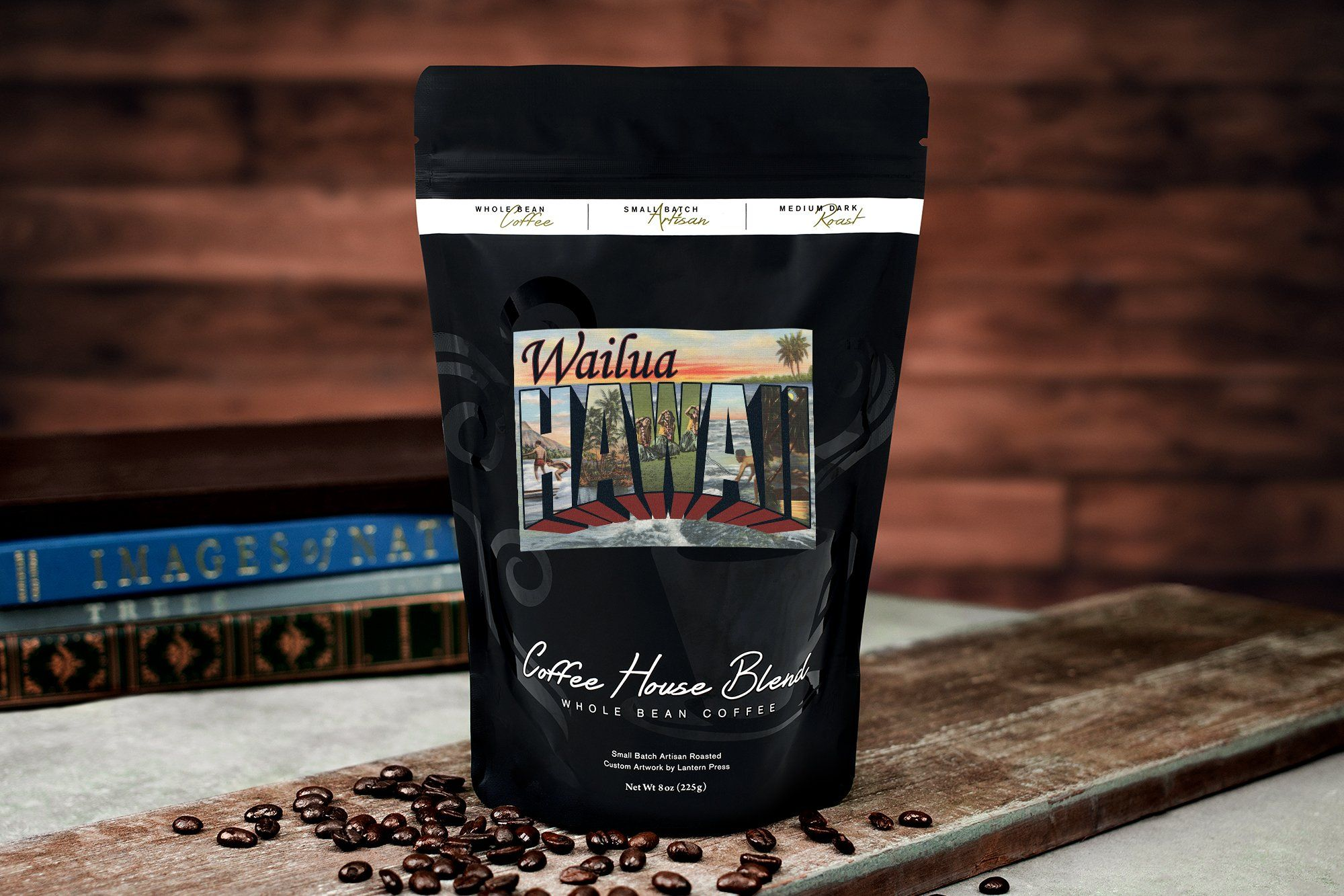 Wailua Hawaii Large Letter Scenes 8oz Whole Bean Small Batch Artisan Coffee Bold And Strong Medium Dark Roast W Artwork Visit The Coffee Dark Roast Beans