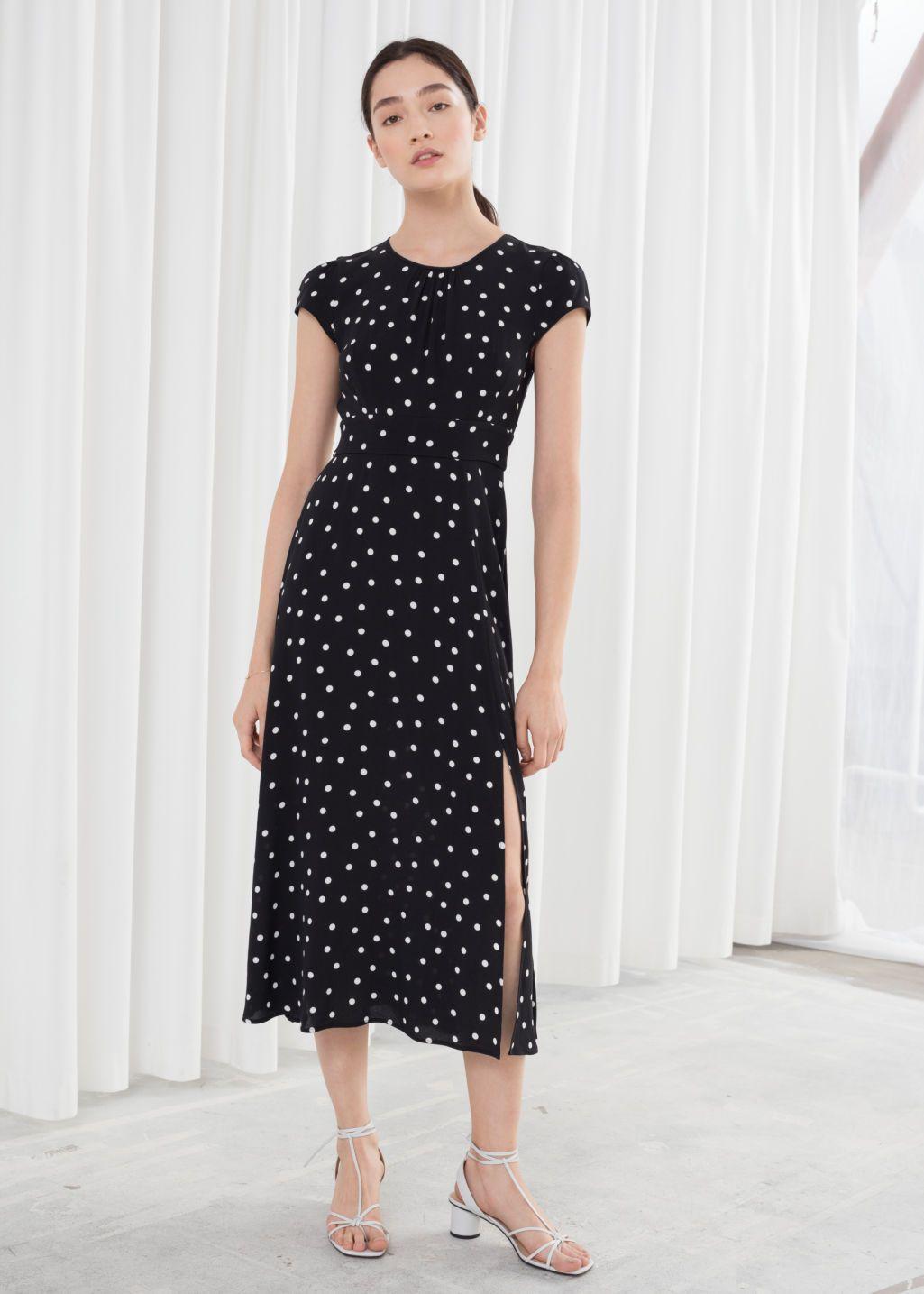 Polka Dot Midi Dress Black Midi Dresses Other Stories Midi Dress Winter Dress Outfits Floral Midi Dress