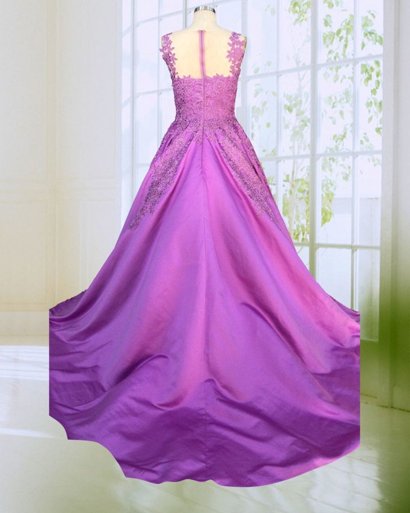 Good quality a line prom dress purple applique satin prom night