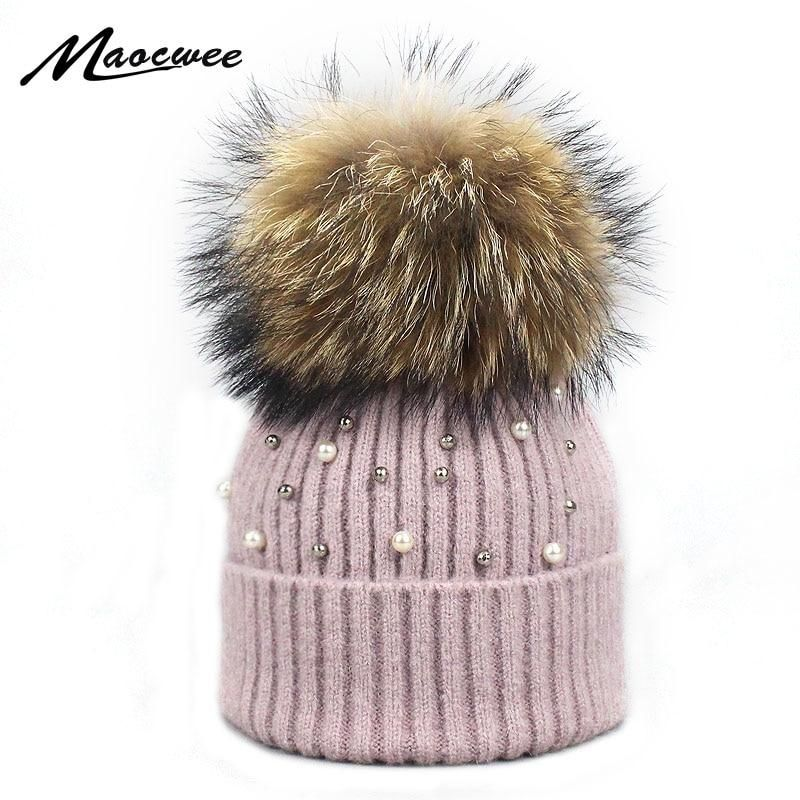 14aae5a7d8a6e New Wool Beanies Women Real Natural Fur Pom Poms Fashion Pearl Knitted Hat  Girls Female Beanie Cap Pompom Winter Hats for Women