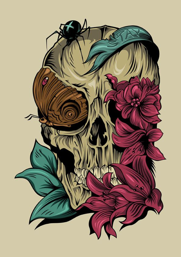 Zombie hand and Natural skull by Shulyak Brothers