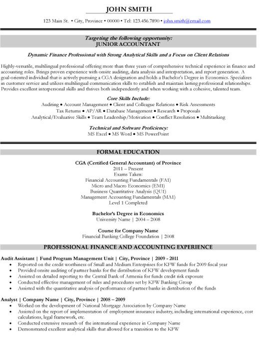 Click Here to Download this Junior Accountant Resume Template - finance student resume