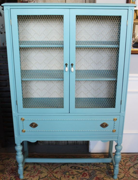 Vintage Aqua China Hutch/gold chicken wire/lattice by RandSLiving ...