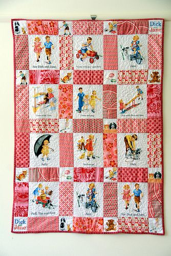 Dick and jane quilt fabric girl feeling dizzy