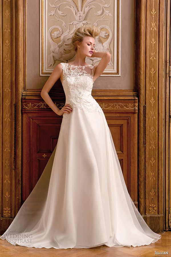 Jillian 2017 Wedding Dress Sleeveless Bateau Sheer Neckline Lace Bodice A Line Bridal Gown