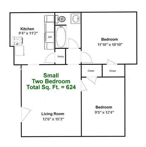two bedroom units large unit living dining combo house plans ...