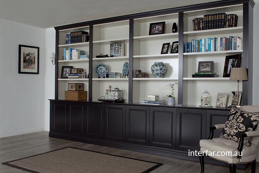 Wall Units Interfar Residential Tradtional Black And White Wall Unit Bookcase With Traditional Detailin Living Room Wall Units Wall Unit Kitchen Wall Units
