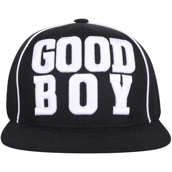 ililily 'GOOD BOY' Bold Embroidery Flat Brim New Era Style Snapback... ($18) ❤ liked on Polyvore featuring accessories, hats, snap back hats, embroidered baseball hats, brimmed hat, snapback baseball cap and baseball hats