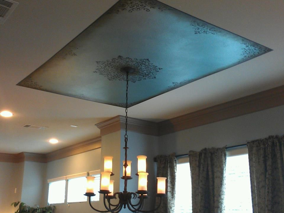 Metallic Ceiling Design With Stencil By Fargo S Art Ceiling