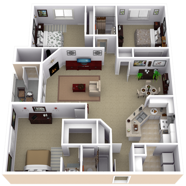 Repined two bedroom apartment layout pinteres for Three bedroom apartment layout