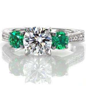 Emerald Three Stone Vera Three Stone Engagement Rings Antique Engagement Rings Vintage Antique Engagement Rings