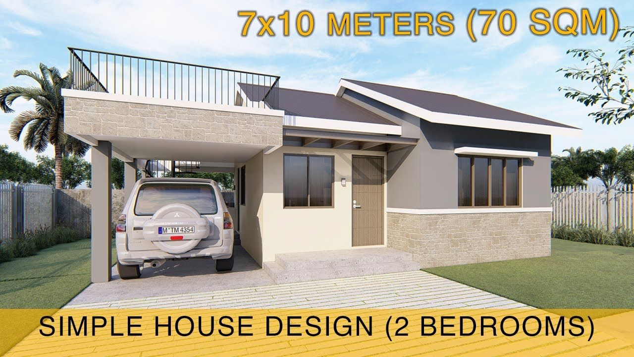Small House Design Idea 7x10 Meters 70sqm With Roof Deck And Carport Small House Design House Design Simple House Design