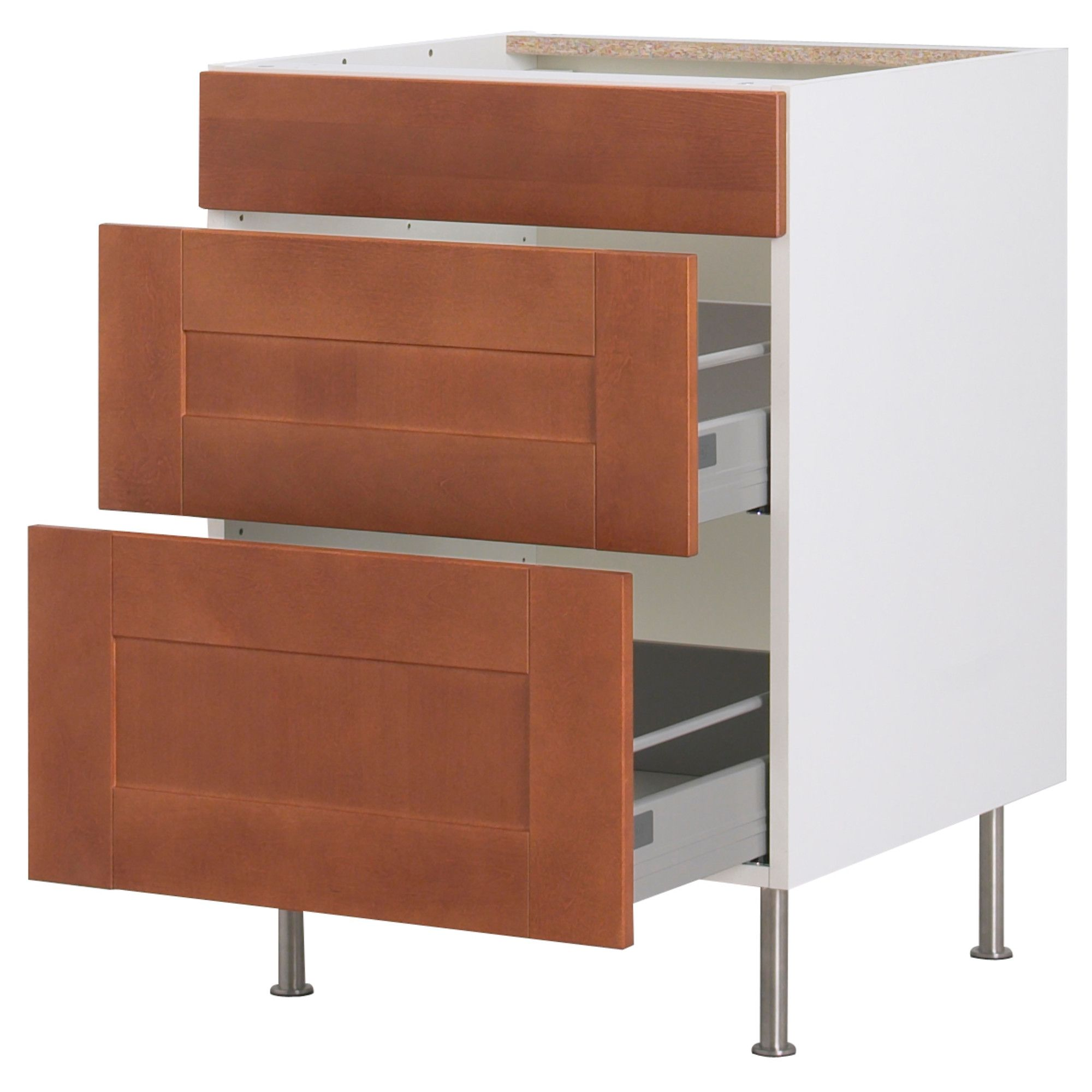 Best 194 Akurum Base Cabinet With 3 Drawers Birch Effect 640 x 480