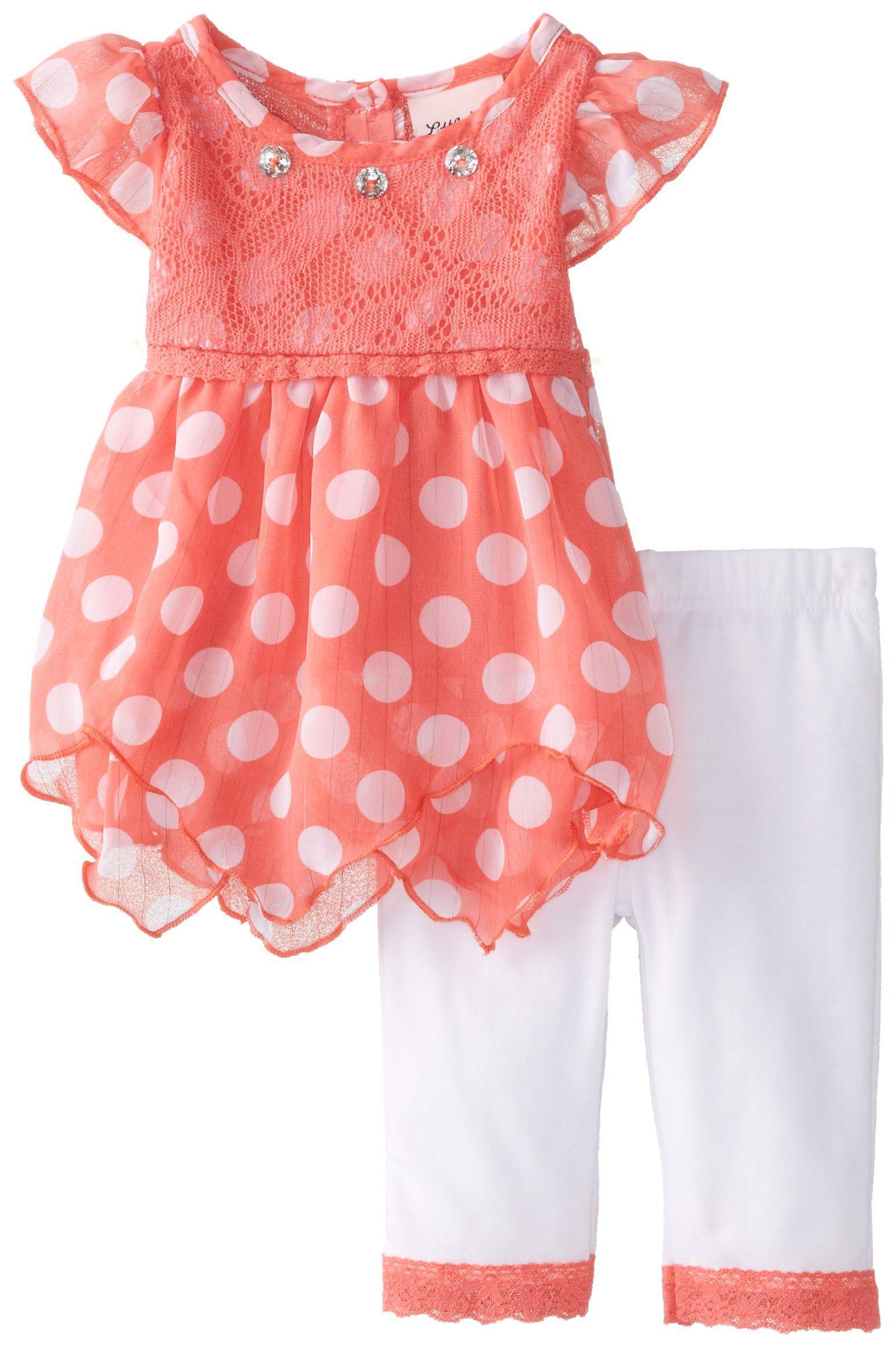 6b4345a4a6770 Amazon.com: Little Lass Baby Girls' 2Pc Chiffon Set Polka Dots, Coral, 12  Months: Clothing