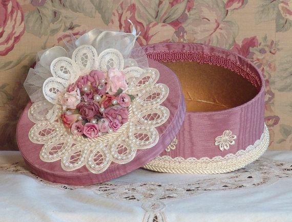 Victorian Rose & Cream Hand Decorated - Trinket/ Hat Box- Vintage Style POB-2