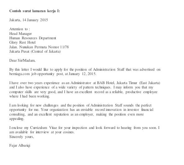 Contoh Surat Lamaran Kerja Bahasa Inggris Untuk Hotel 1 di
