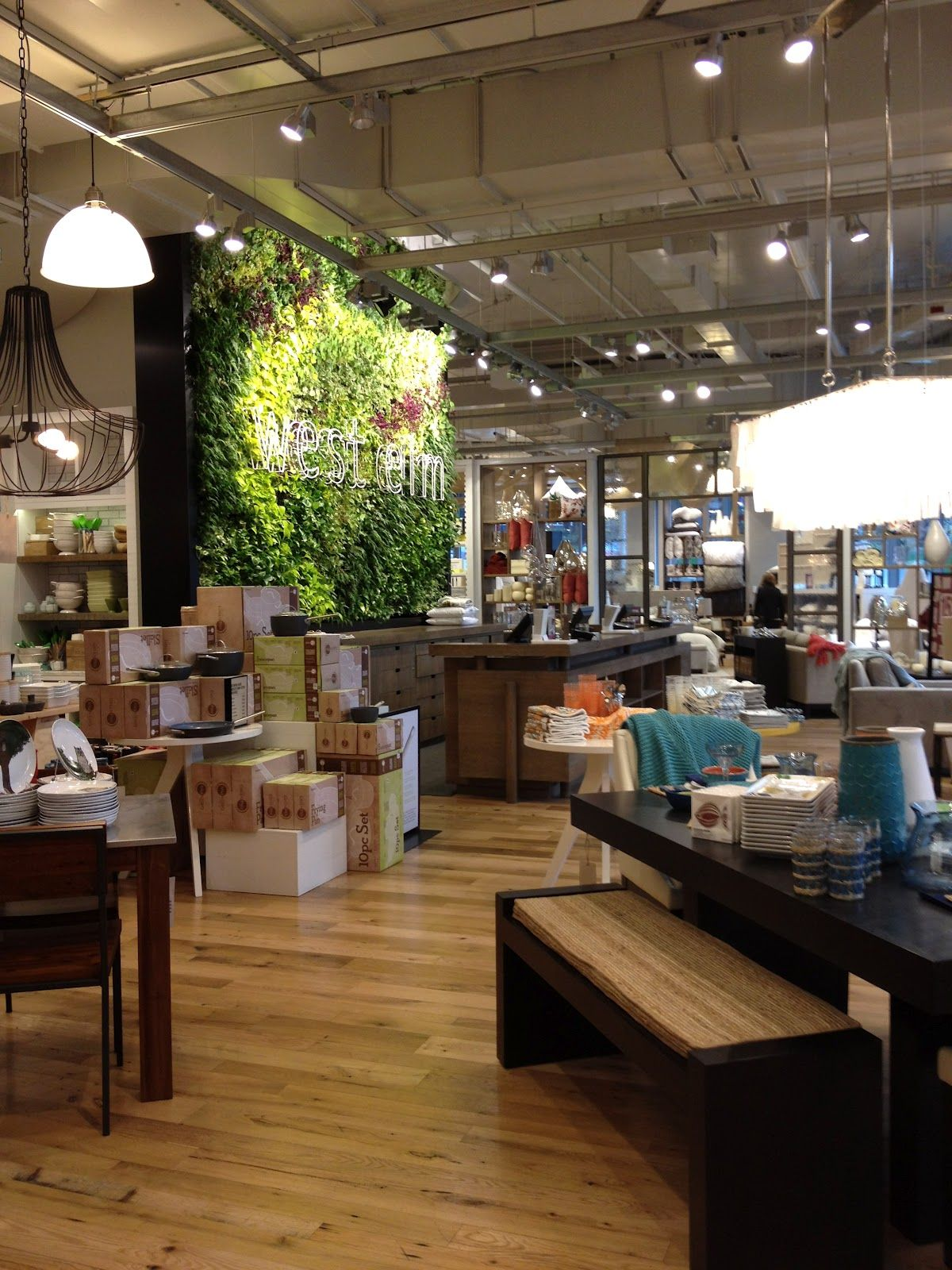 West Elm interior and ceiling