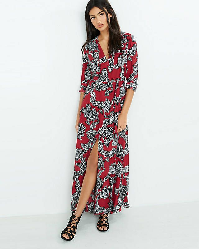 3dda2d018209 Burgundy Floral Maxi Shirt Dress
