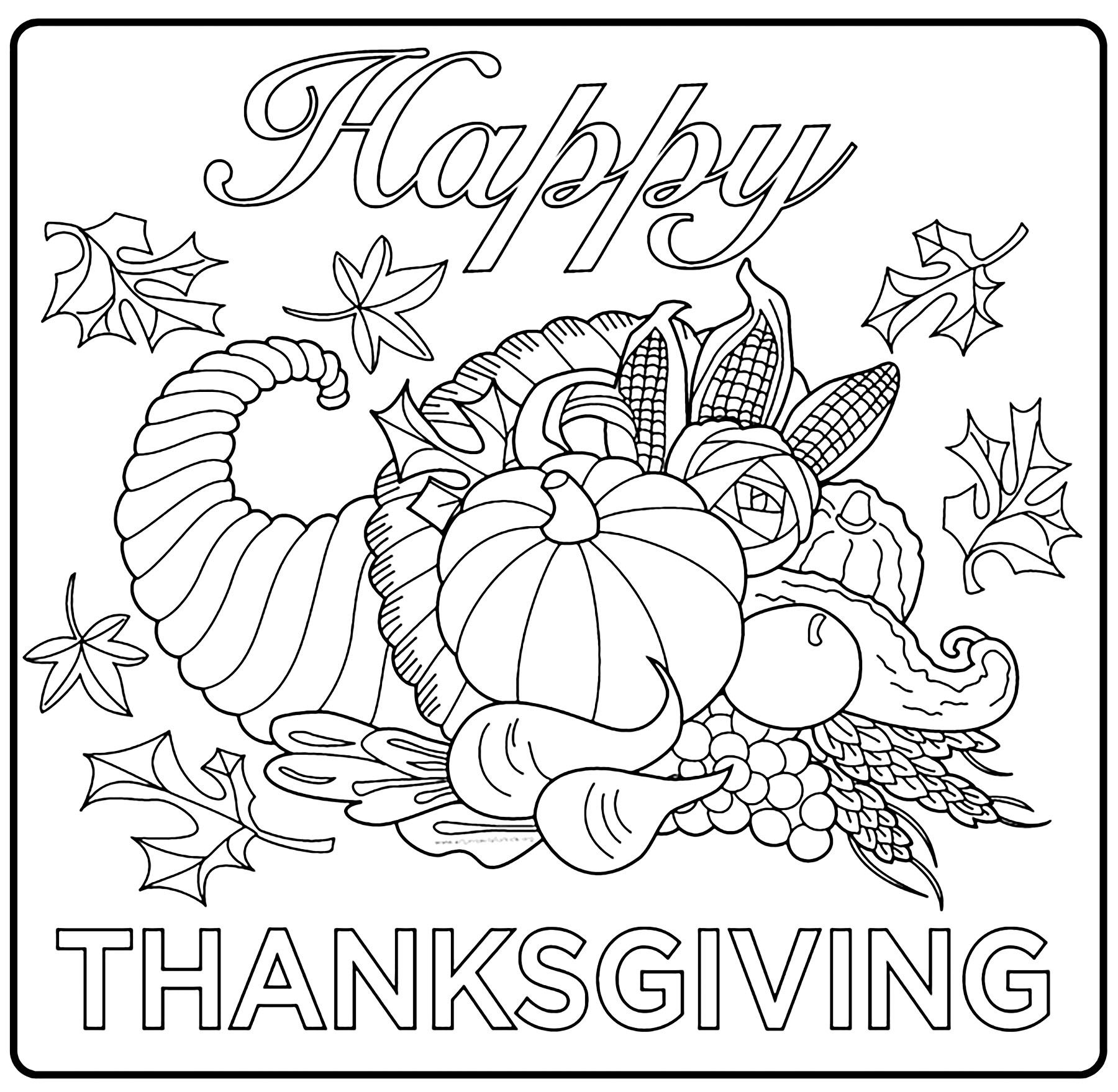 Thanksgiving free to color for children - Simple ...