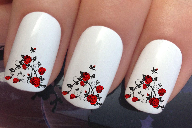 nail art set #642 x12 red rose thorn bush flower water transfer ...