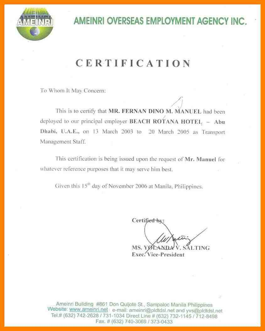 Certification letter work certify for salary npi with home certification letter nus salary certificate history template for proof recommendation residency letters best free home design idea inspiration altavistaventures Images