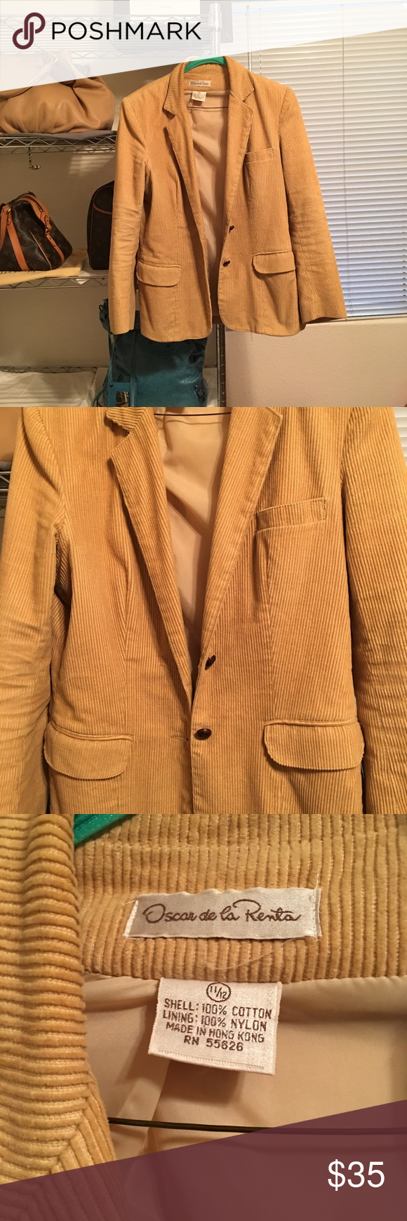 Rare find Vintage Oscar de la Renta Blazer Wow. This blazer is amazing. Fully lined corduroy. I bought from a consignment store last year and wore twice with a dress I had. Since getting rid of the dress I haven't worn it. Really great condition. Needs to be cleaned tiny spot on the back which looks like it will come out with cleaning. Couldn't even capture it in pic it's so small. Selling for a steal. Size 11/12 runs small and could fit a 10 as well. Color is tan. Oscar de la Renta Jackets…