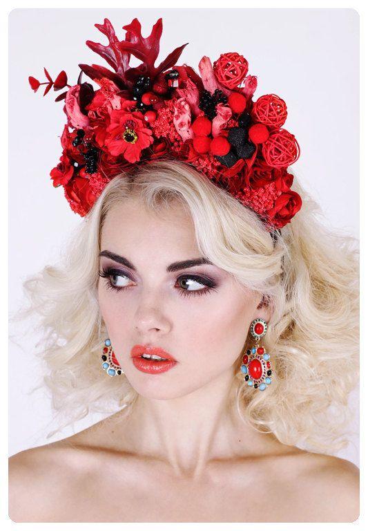 Rote Blume Krone Kopfschmuck Blume Blume von DeepInMyFlowerSoul #flowerheadwreaths