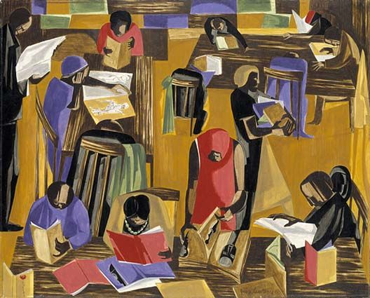 """The Library--- Jacob Lawrence remembered in high school that black culture was """"never studied seriously like regular subjects,"""" so he taught himself about it by going to libraries and museums. This painting shows off  the 135th street library (now the Schomburg Center for Research in black culture), where the country's first collection of African American literature and history was first displayed in 1925."""