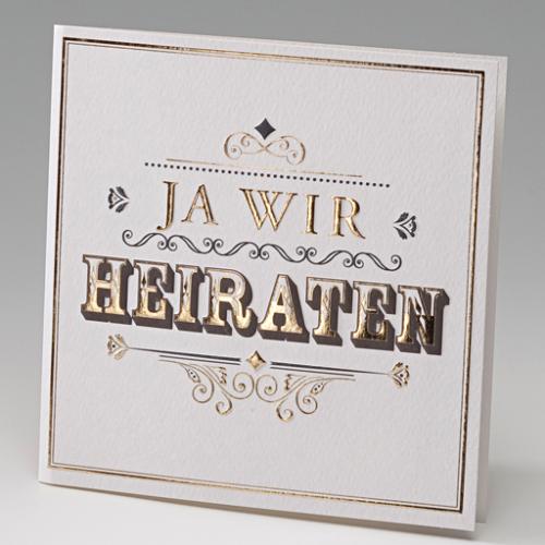 Die Ausgefallene Schriftart Macht Den Besonderen Stil Dieser Einladungskarte  Für Eure Hochzeit Aus In Großen Geprägten Lettern Verkündet Die Karte: JA  WIR ...