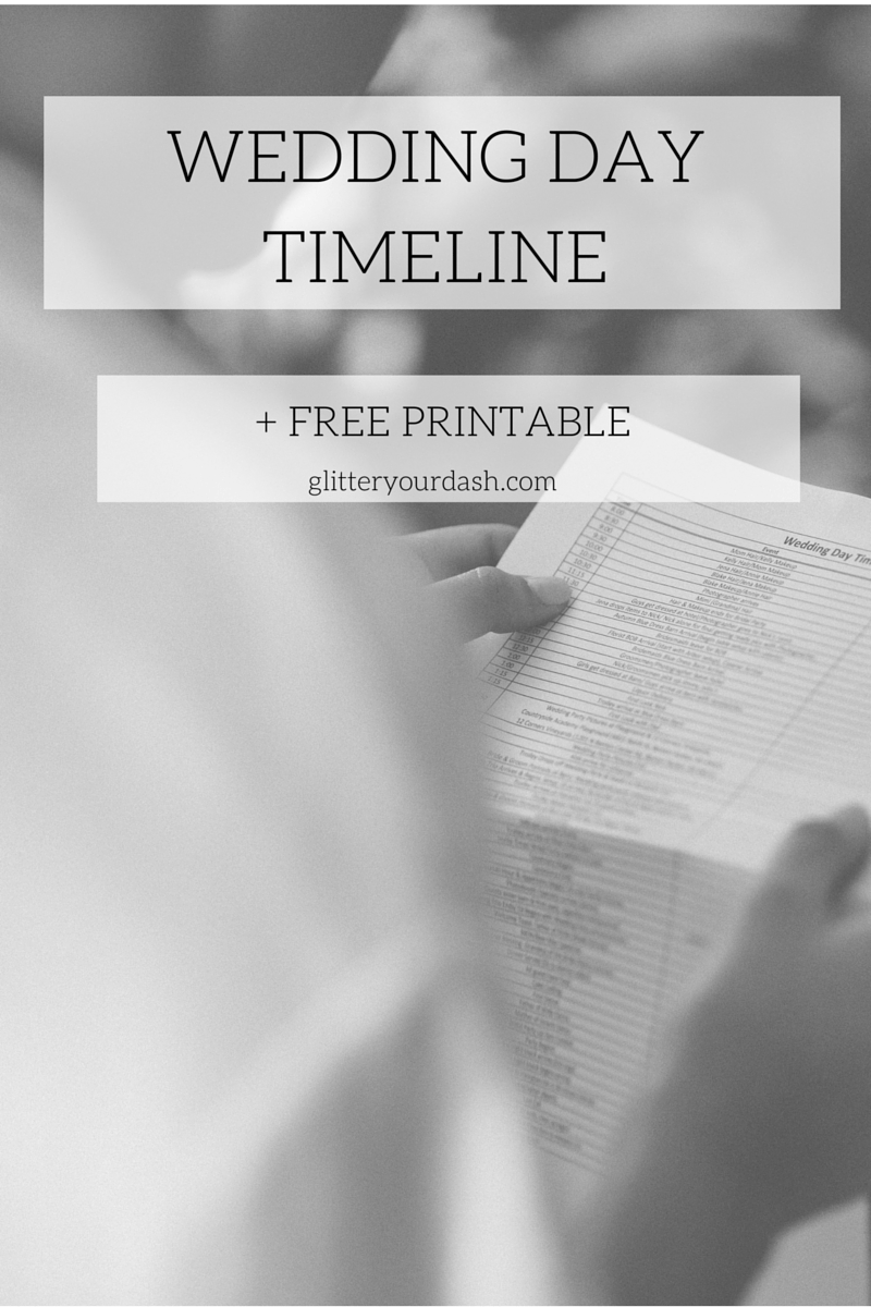 Free Wedding Day Timeline Template