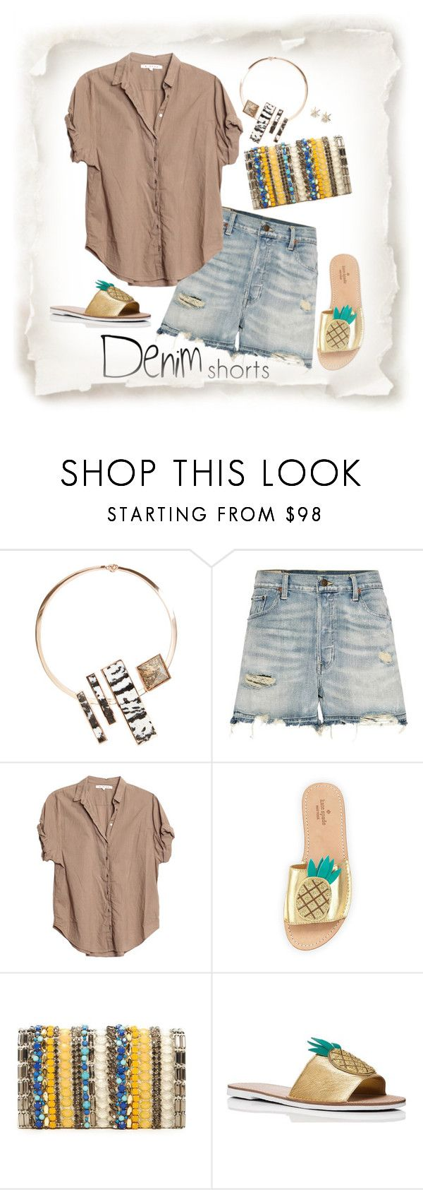 """The final cut: Denim Shorts"" by musicfriend1 ❤ liked on Polyvore featuring Eddie Borgo, Polo Ralph Lauren, Xirena, Kate Spade, Alice + Olivia, Sole Society, jeanshorts, denimshorts and cutoffs"