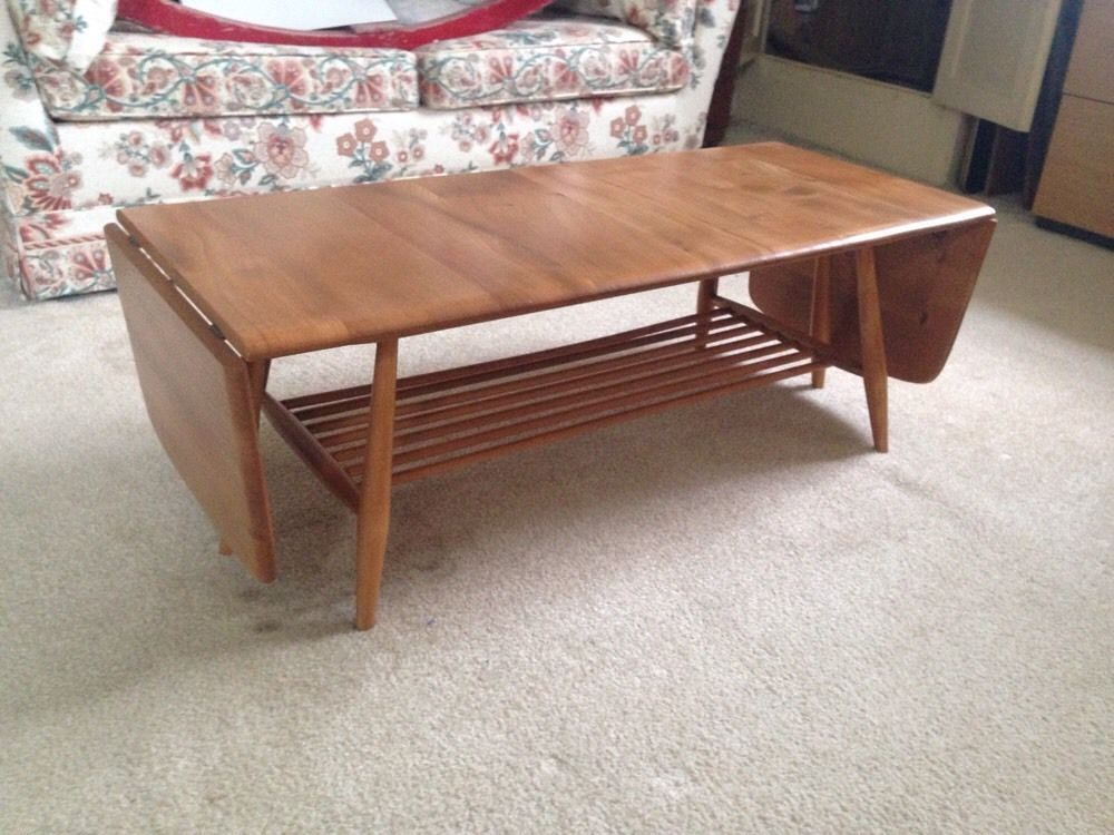 Vintage Ercol Coffee Table Blonde Windsor Drop Leaf Mag Rack