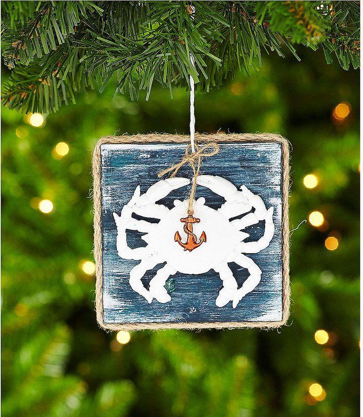 Wandplank wandplank ornament fotos : Dillard ́s Trimmings Par La Mer Crab on Wood Plank Ornament ...