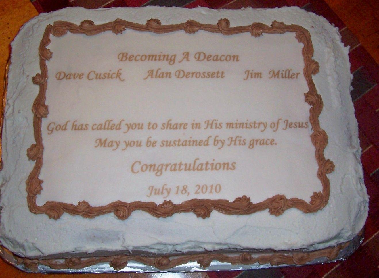 Deacon Ordination Cake Church Celebrations Pinterest