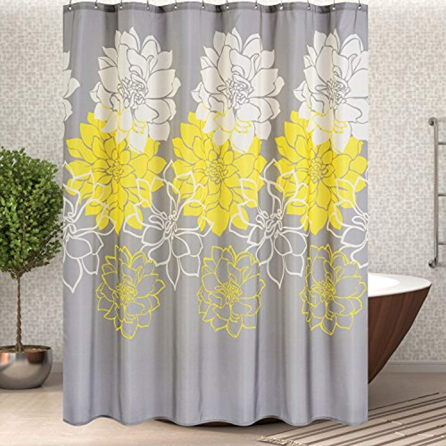 Wimaha Floral Fabric Shower Curtain Mildew Resistant Water