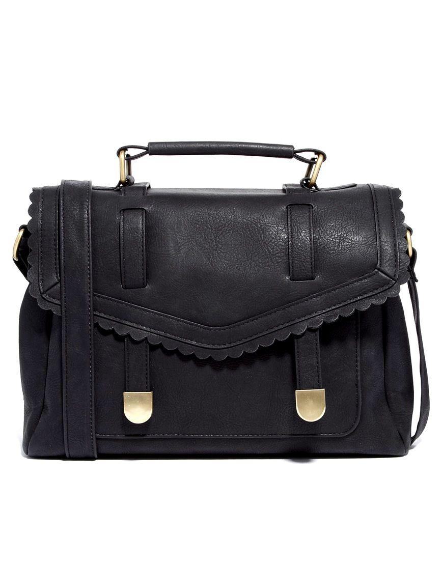 fe97b44ffbed ASOS | ASOS Satchel Bag With Scallop Flap And Slot Through Straps at ASOS
