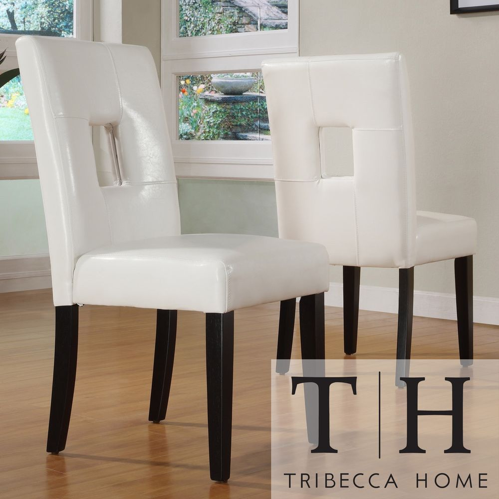 Tribecca Home Mendoza White Keyhole Back Dining Chair Set Of 2 Mesmerizing White Dining Room Chairs Modern Inspiration Design