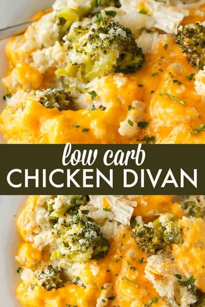 Carb Chicken Divan Low Carb Chicken Divan - This comforting casserole has a creamy sauce made with chicken, broccoli, cheddar cheese and cauliflower rice. You won't even miss the extra carbs.Low Carb Chicken Divan - This comforting casserole has a creamy sauce made with chicken, broccoli, cheddar cheese and cauliflower rice. You won't even miss the extra carbs.