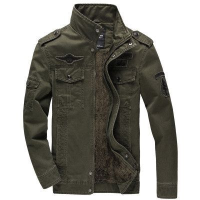 Army Green/Khaki/Black Zip Casual Men Military Style Jacket COOL ...