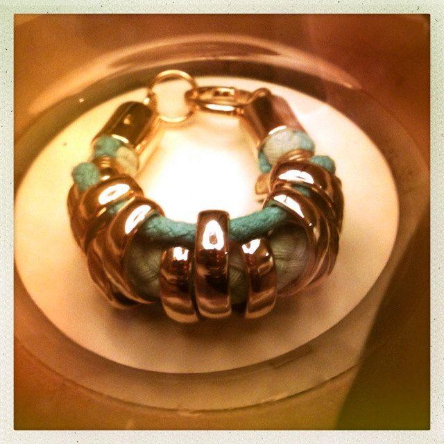 Herringbone Bracelet - Aqua Blue. £15.00, via Etsy.
