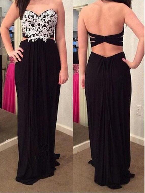 Black Chiffon Prom Dress Sweetheart Cut